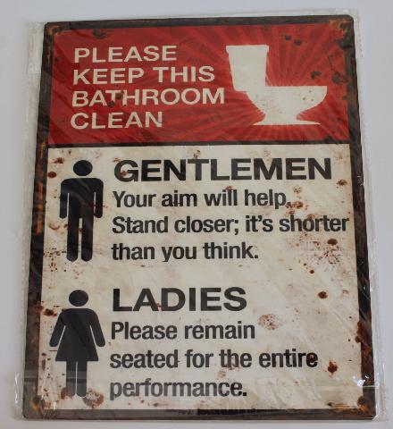 Please Keep Bathroom Clean Mens Womens Metal Sign Pub Game Room Bar