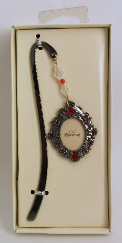 Metal Picture Frame Book Mark with Ruby Red Rhinestone Accents