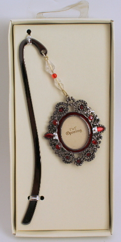 Metal Picture Frame Book Mark with Ruby Red Rhinestone Accent