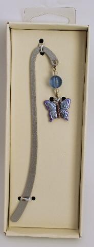 Metal Butterfly Purple Charm Book Mark Bookmark