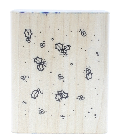 Whimsical Holly Patch Dots  Wooden Rubber Stamp