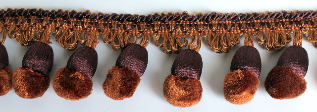 Chocolate Mocha Brown 2 Yard Pom-Pom Tassel Upholstery Trim