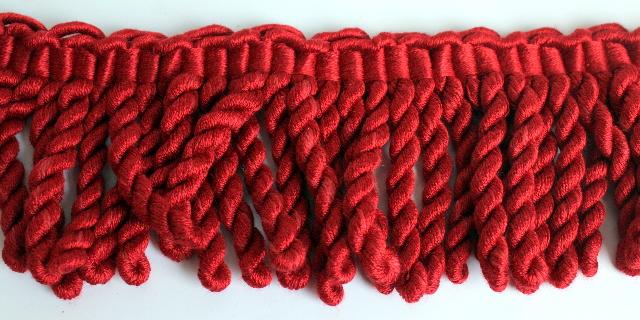 Red Twist Tassel 7 feet Yard Pom-Pom Tassel Upholstery Trim