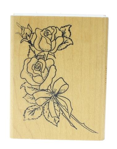 Embossings Arts Floral Long Stem Rose Bundle Wooden Rubber Stamp