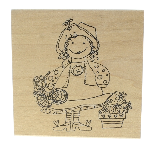 Imaginations Girl with Flower Basket Wooden Rubber Stamp