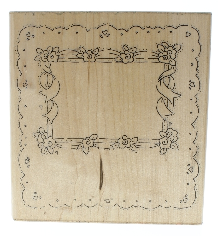 JRL DesignScallop Edged Floral Frame with Ribbon Wooden Rubber Stamp