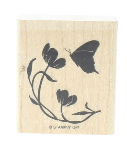Stampin Up Silhouette flower and Butterfly Image Wooden Rubber Stamp
