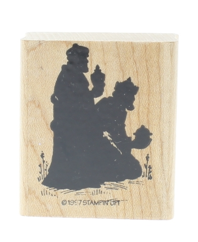 Stampin Up Silhoutte of Wise men with Gifts Wooden Rubber Stamp