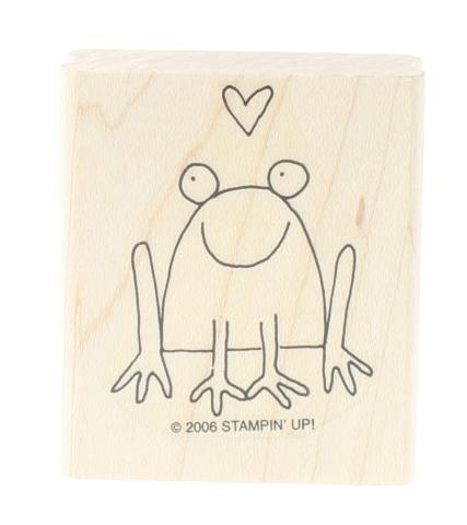 Stampin Up Stick Figure Smiling Frog Image Wooden Rubber Stamp