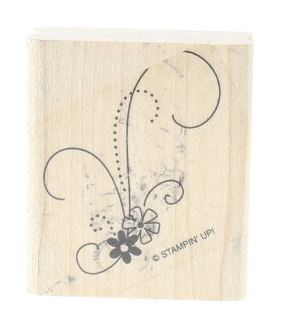 Stampin Up Flowers and Swirls Wooden Rubber Stamp