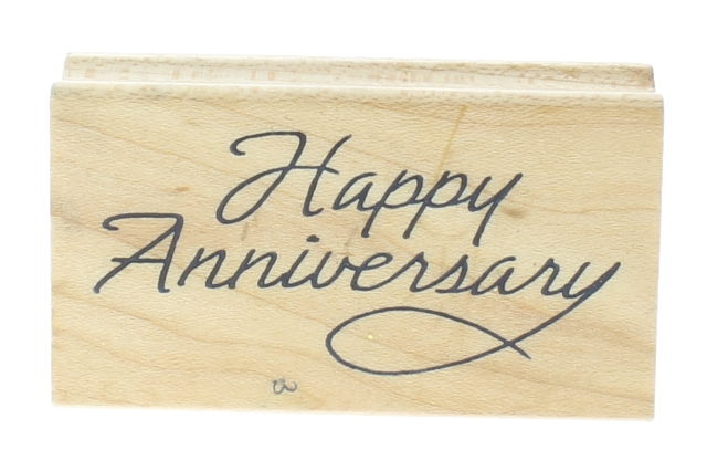 Happy Anniversary Art Impressions Wooden Rubber Stamp