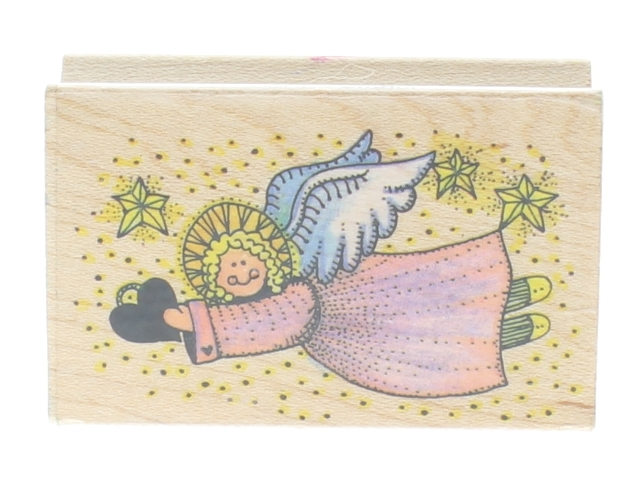 All Night Media 1982 Angel with a Heart and Stars Wooden Rubber Stamp
