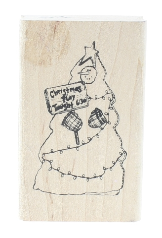 Christmas Tree Tonight Advertisement Christmas Tree Wooden Rubber Stamp