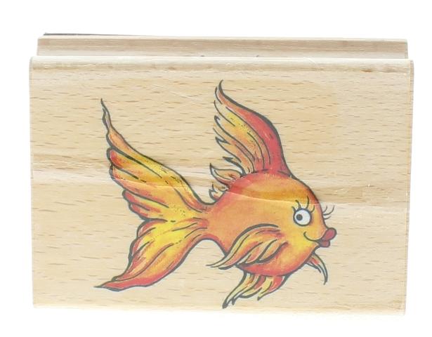 Stamp Craft Cartoon Gold Fish Wooden Rubber Stamp