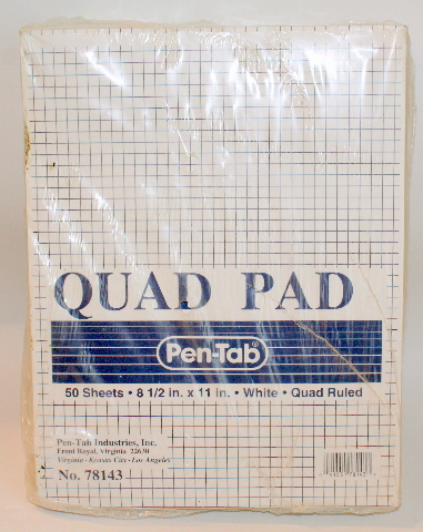 "Quad Ruled Pen Tab White 12 packs of 50 Sheets Each New 8.5"" x 11"" No 78143"