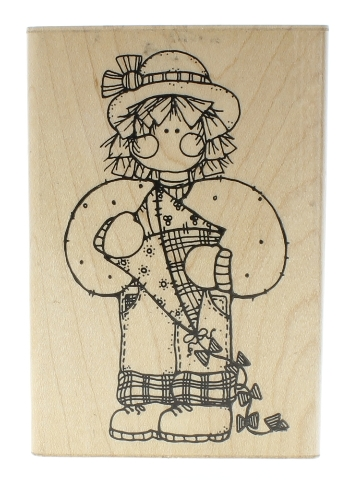 Dots Miss March Katie S157 Little Girl with a Kite Wooden Rubber Stamp