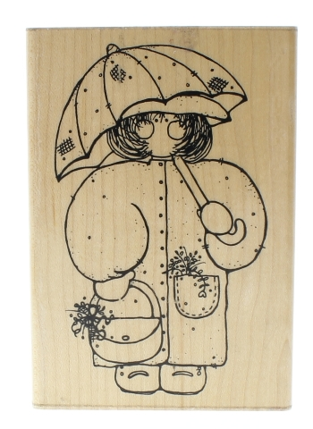 Dots Miss May Monica Little Girl with an Umberlla Wooden Rubber Stamp