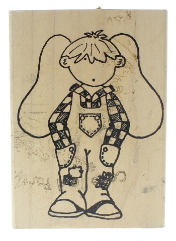 For Me and My House Little Angel Boy Wooden Rubber Stamp