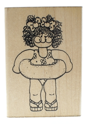 Dots Little Girl in a Swimsuit and Innertube Wooden Rubber Stamp