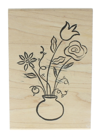 Ducks in a Row Long Stem Flowers in a Table Vase Wooden Rubber Stamp