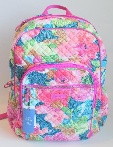 Vera Bradley Iconic Campus Tech Backpack Super Bloom Floral School Bag NWT