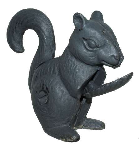 Heavy Cast Iron Nut Cracker Squirrel With Moving Tail Antique Patina Grey