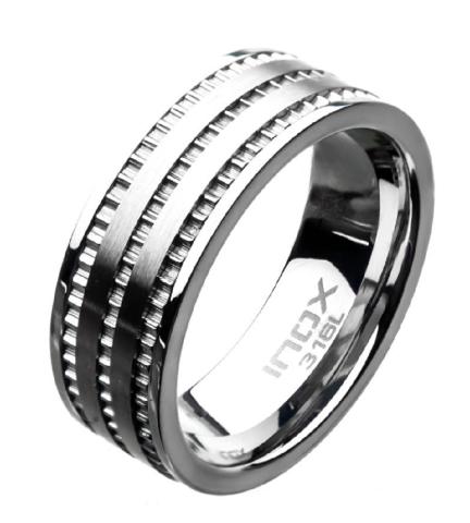 Inox Mens Stainless Steel Modern Ridge Layer Band Ring Sz 11