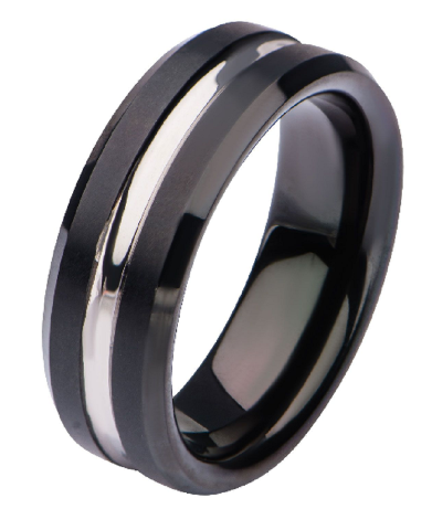 Inox Mens Black Plated and Steel Nero Ring Size 10