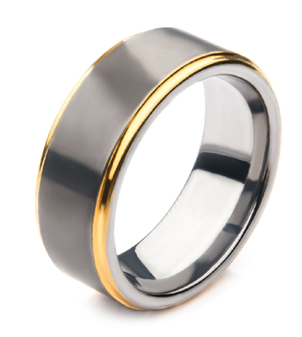 Inox Gun Metal Plated with Gold Plated Edge Steel Ring Sz 12