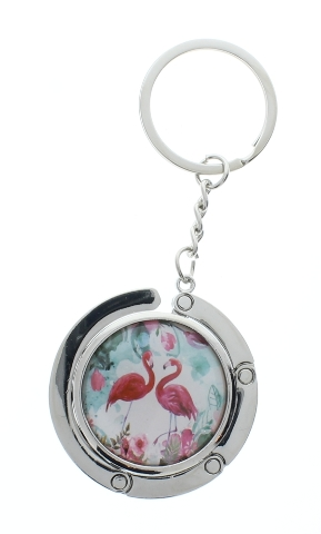 Flamingo Party Artist Theamed Purse Handbag Bag Hook Hanger compact