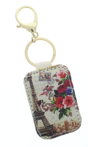 Paris Eiffel Tower Rose Swag  with Gold Tone Accents Key Chain Fob Phone
