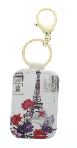 Paris Eiffel Tower Garden Botanical Collage with Gold Tone Accents Key Chain Fob Phone