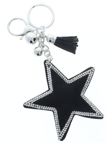 Rhinestone Bling Black Star Pillow Puff Faux Fur Accents Key Chain Fob Phone