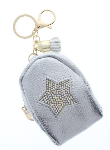 Rhinestone Bling Silver Star Backpack Coin Purse Key Chain Fob Purse Charm