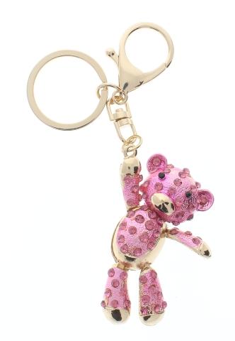 Rhinestone Bling Pink Dangling Teddy Bear Key Chain Fob Phone