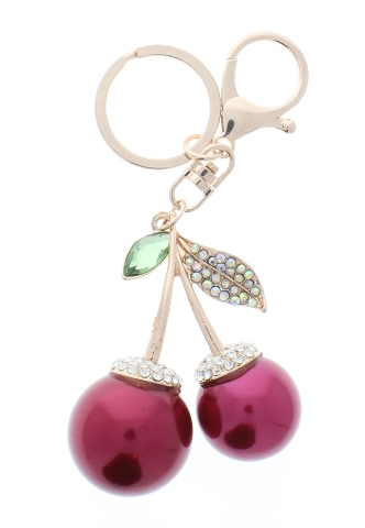 Rhinestone Bling Red Cherries Gold Accents Key Chain Fob Phone