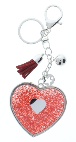 Rhinestone Bling Red Heart and Tassel with silver tone Accents Key Chain Fob Phone