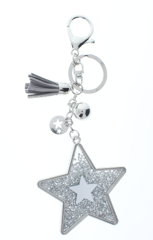 Rhinestone Bling Shooting Star with Silver Tone Accents Key Chain Fob Phone
