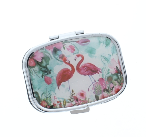 Pink Flamingo Pill Box Medicine Container Case