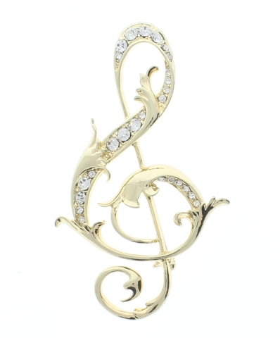 G Clef with Leaves of Gold Tone and Rhinestone Bling Pin Brooch Broach
