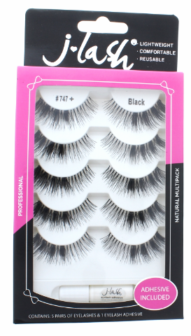 Lot of 5 Cruelty Free Reusable Eyelash and Glue Natural Full J Lash JLash J747+