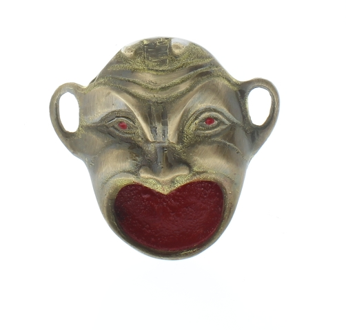 Solid Brass Devil Red Mouth Aluminm Ashtray Ash Tray With Antique Patina