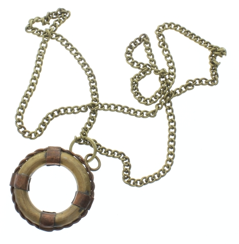 "Solid Brass Nautical Life Preserver Pendant and Chain 24"" Necklace"