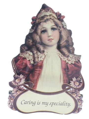 Old Print Factory Victorian Embossed Magnetic Verse Card Caring is my Speciality