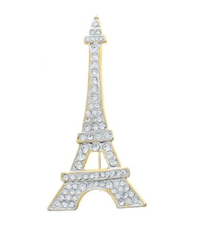 Paris Eiffel Tower All Lit UP Rhinestone Pin Brooch Broach