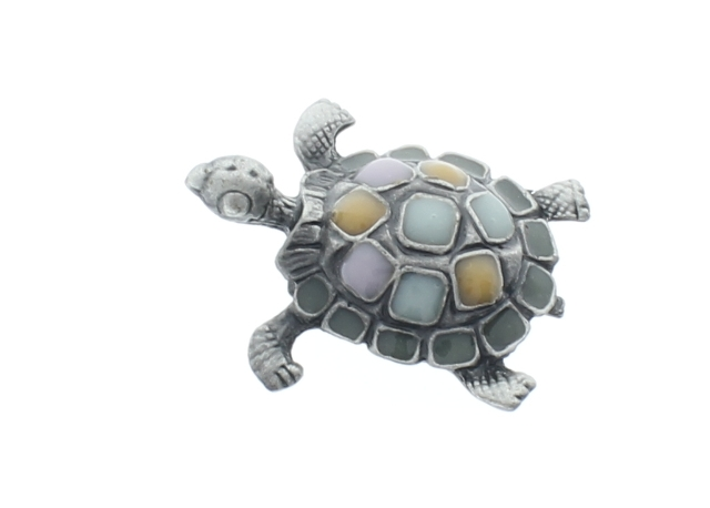 Turtle Broach with Natural Colored Stones and Silver tone Pin Brooch Broach