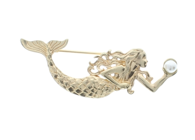 Mermaid Swimming with a Pearl Gold tone Pin Brooch Broach