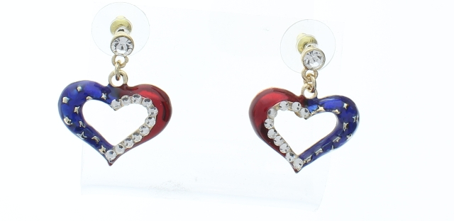 Red White and Blue Heart Dangle Drop Earrings USA Flag