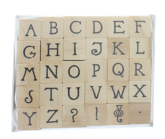 Hampton Art Whimsical Alphabet Block Letters 30 Pc Set Wooden Rubber Stamp