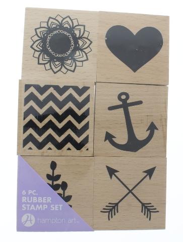 Inkadinkado Heart Anchor Arrow Flower 6Pc Set of Wooden Rubber Stamp